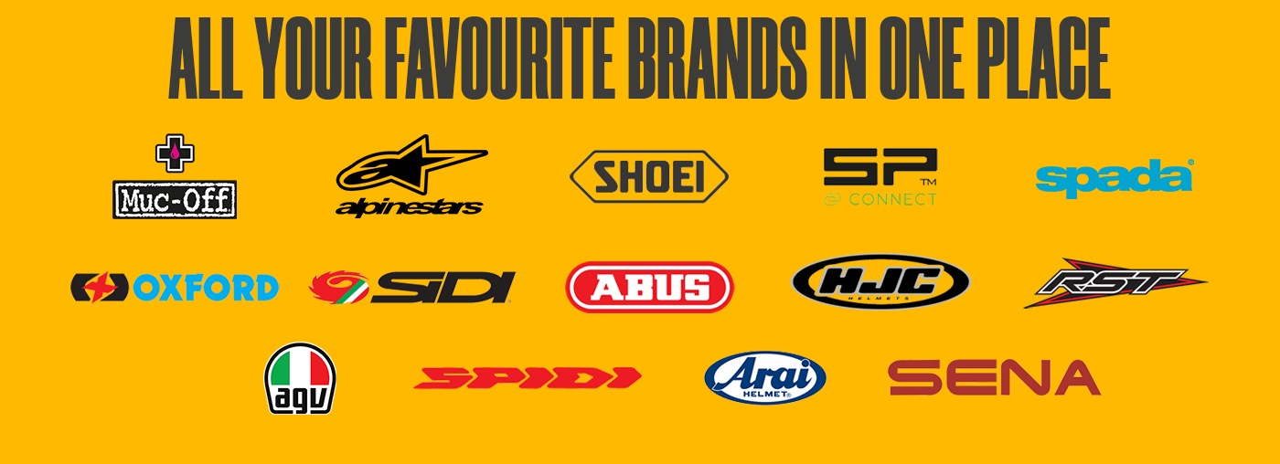 motorbike accessories from Superbike Factory including Shoei, RST, AGV, Spada and more